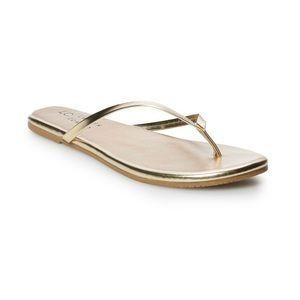 LC Lauren Conrad Gold Honey Thong Flip Flops